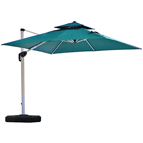 PURPLE LEAF 10 Feet Double Top Deluxe Square Patio Umbrella Offset Hanging Umbrella Outdoor Market Umbrella Garden Umbrella, Turquoise Blue