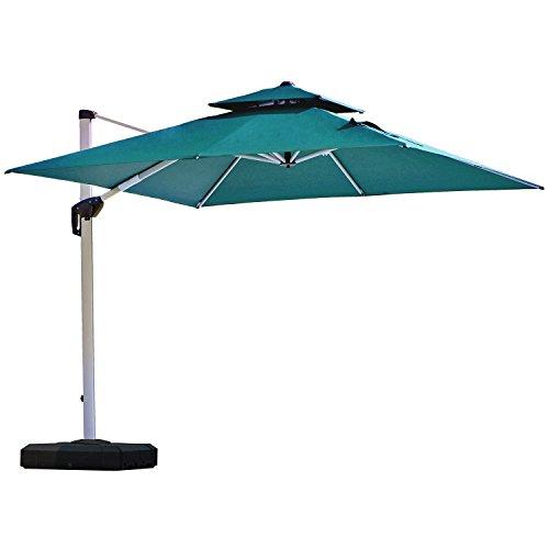 PURPLE LEAF 10 Feet Double Top Deluxe Square Patio Umbrella Offset Hanging Umbrella Outdoor Market Umbrella Garden Umbrella