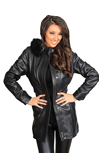 con Cappotto 4 con pelle nero Mila montgomery cappuccio da 3 staccabile donna in Parka Cappotto da regolabile rRwA8rfq