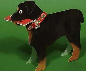 Perro rottweiler 3d troquelado tarjeta de Navidad–se vende individualmente