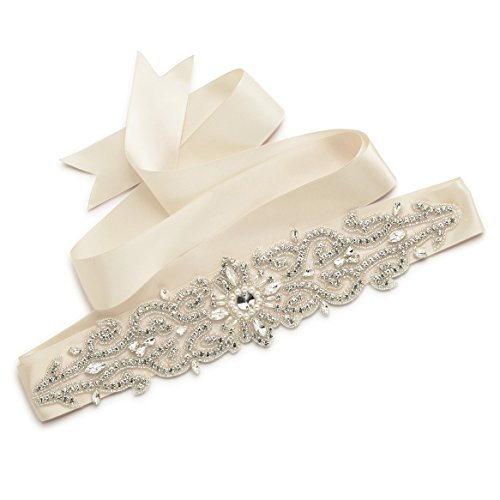 SWEETV Luxury Rhinestone Belt Applique Crystal Bridal Sash Belt for Dress Accessories, Champagne (Bachelorette Crystal)
