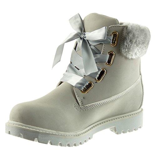 Angkorly - damen Schuhe Stiefeletten - Combat Boots - Biker - Pelz -  Schnürsenkel aus Satin ... 583442e73b