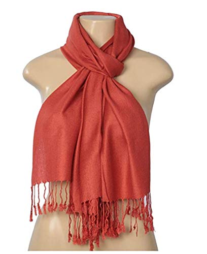 Scarf Shawl New Silk (C-More Elegant Pashmina Silk Blend Soft Wrap Scarf Shawl For Women -30+ Solid Colors (Brick))
