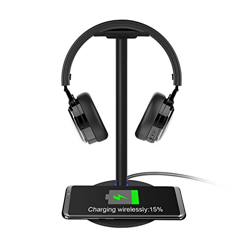 Wireless Charging & Headphone Stand, ICE FROG Headset Hanger Holder Mount for Bose Shure Jabra JBL AKG Gaming Earphone Charger Station Pad for iPhone X 8 Plus, Samsung Note 8 S8 S7 Edge/S6 – Black Review