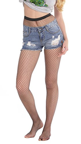 (Abollria Girls Ladies Fishnet Stockings Tights Pantyhose Black One Size Small Hole)