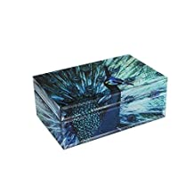 American Atelier 1280035 Peacock Glass Jewelry Box
