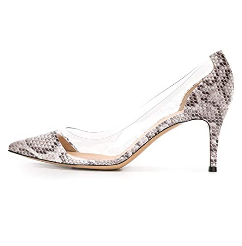 YODEKS Women's Pointed Toe Transparent 65MM High Heels Clear Stiletto Slip On Dress Party Wedding Pumps Shoes Snakeskin US7