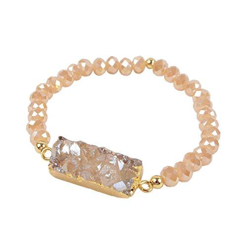 ZENGORI 1 Pcs Gold Plated Rectangle Natural Agate Titanium Rainbow Druzy Champagne Faceted Beads Bracelet G1281 - Champagne Quartz Bracelet