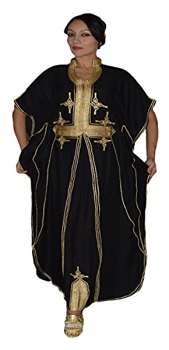 Moroccan Caftan Hand Made Breathable Cotton with Gold Hand Embroidery Long Black by Moroccan Caftans (Image #7)