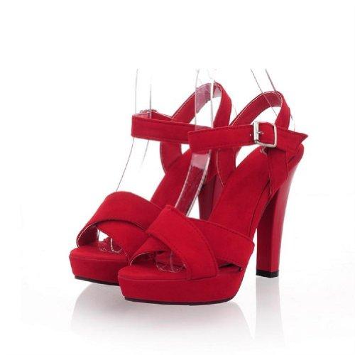 Charme Pied Femmes Plate-forme Chunky Talons Haut Talon Ouvert Orteil Sandales Chaussures Rouge