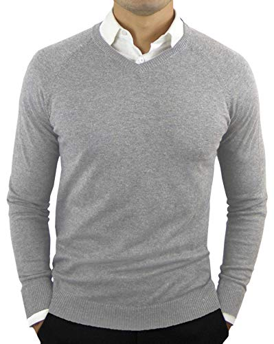 Mens Merino Polo Sweater - CC Perfect Slim Fit V Neck Sweaters for Men | Lightweight Breathable Mens Sweater | Soft Fitted V-Neck Pullover for Men, Large, Heather Gray