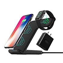 Wireless Charger DoSHIn 2 in 1 Wireless Charger Stand (QC3.0 Adapter Included) Fast Charger DockingStation Compatible with iWatch Series 4/3/2/1,iPhone Xs/XR/XS MAX/X/8Plus/8, Samsung Galaxy S9/S8