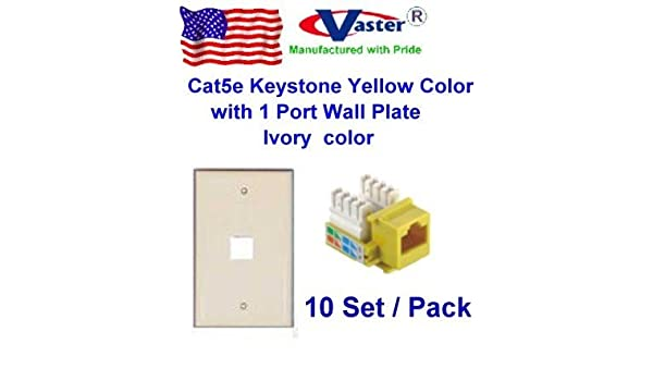 amazon com: vastercable, 10 pcs / pack - cat5e punch down keystone jack  yellow color, with 1port rj 45 keystone wall plate, ivory color: computers  &