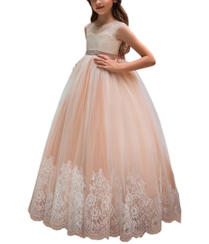 (Flower Girl Dress for Wedding Kids Lace Pageant Ball Gowns Blush Pink Size 6)