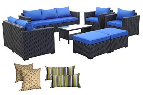 Patio PE Wicker Furniture Set -7 Pcs Outdoor Black Rattan Conversation Seat Couch Sofa Chair Set with Royal Blue Cushion (Blue Furniture Wicker Outdoor)