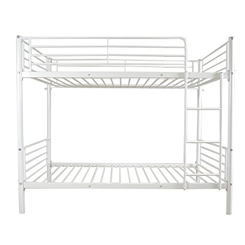 FCH Twin Over Twin Bunk Bed Easy Assembly Metal Frame W/Ladder Kids Adult Children Bedroom 78