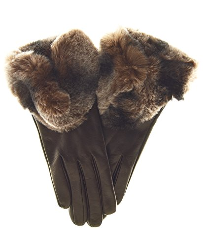 Fratelli Orsini Women's Rex Rabbit Fur Cuff Cashmere Lined Winter Leather Gloves Size 7 Color Brown