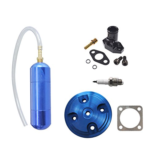 JRL Blue CNC Cylinder Head Cover & Black Inlet Manifold Fit 80cc Motorized Bicycle ()