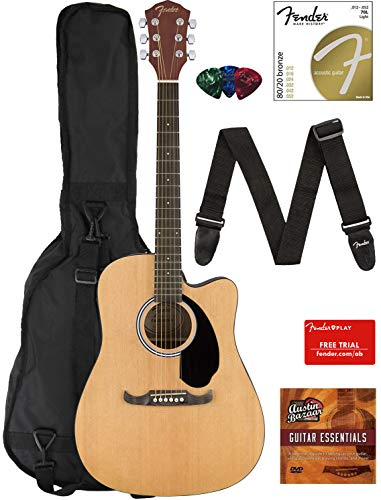Fender FA-125CE Dreadnought Cutaway Acoustic-Electric Guitar - Natural Bundle with Gig Bag, Strap, Strings, Picks, Fender Play Online Lessons, and Austin Bazaar Instructional DVD (Bass Gloss Natural Guitar)