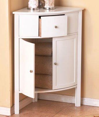 White   Corner Wooden Storage Cabinets Walnut Double Doors Organizer NEW  Accent Tables Design