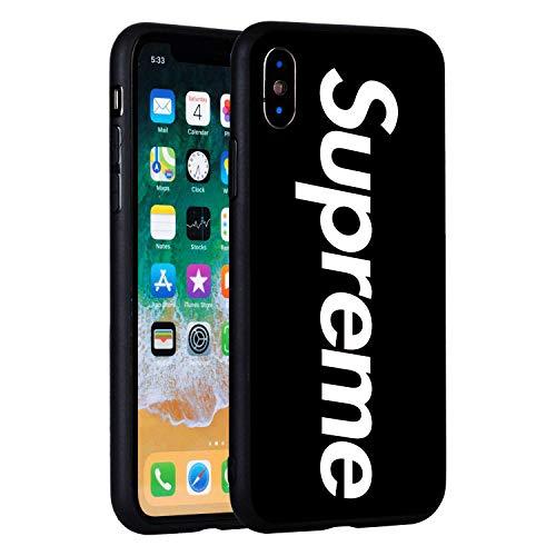 Supreme iPhone X Case, Tempered Glass Back Case, Supreme Fashion Hard Glass Back Cover Soft TPU Bumper Frame Anti-Fingerprints Protective Case (Black)