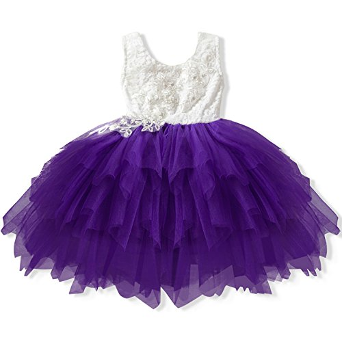 5b4e6b54f4 Girl Baby Dress Beaded Backless Lace Appliques Tutu Tulle Flower Girl Party  Wedding Dresses White Pink Purple Red Fairy Skirt(130cm, Dark Purple)