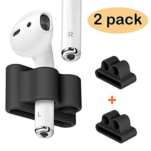 FINENIC【2 Pack】 Compatible for AirPods Holder, Portable Anti-Lost Silicone Compatible for Apple AirPod, Compatible for AirPods Accessories (Black +Black)