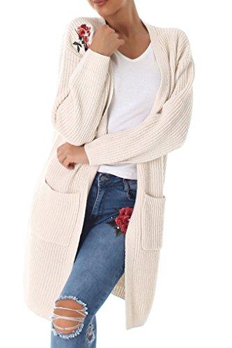 11c521749b46 Voyelles Damen Strickjacke, Cardigan mit Angesagter Blumenstickerei und  V-Ausschnitt, Lange Ärmel und