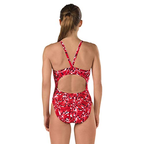 Speedo 7719611 Girl Optical Burst Flyback ProLT Swimsuit, Speedo Red - 12/28