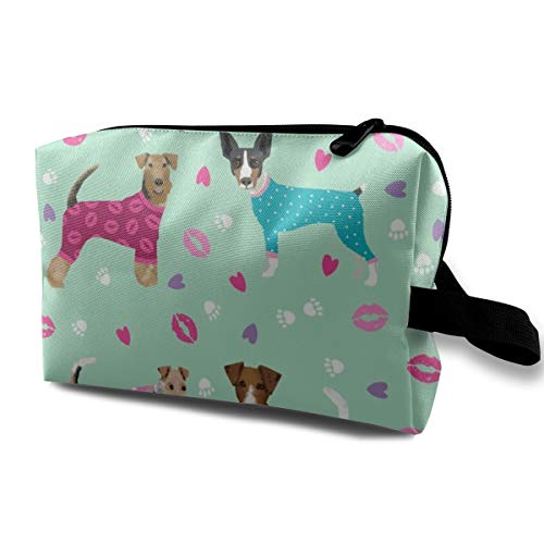 Terriers In Pyjamas Fabric Dogs In Clothes Cute Rat Terrier, Jack Russell Terrier, Welsh Terrier, Wire Fox Terrier_660 Organizer Portable PU Womens Girls Pink Sparkle