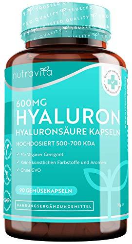 Hyaluronsäure Kapseln mit 600mg – Hyaluronsäure kapseln hochdosiert mit 500-700 kDa – 90 Vegane Kapseln für 3 Monatsvorrat – GVO frei und Ohne Zusätze – Hergestellt von Nutravita
