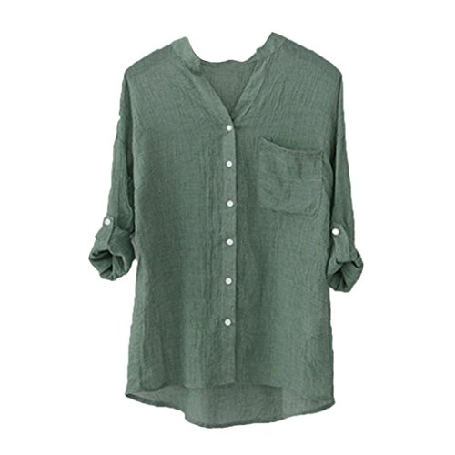 3aea0b23d7 Lowprofile Juniors Women's Loose Casual Summer Lightweight Cotton Linen  Blouse 3/4 Sleeve Button Down