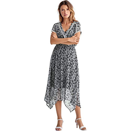 (Ellos Women's Plus Size Sheer Surplice Dress - Black White Print, 20)