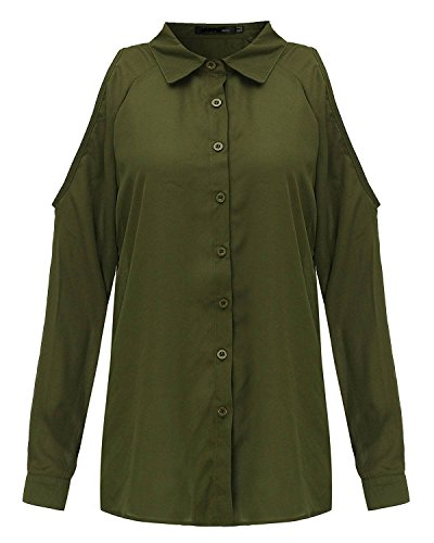 Sexy Soie en Chemisier Chemise de Vert Longues Femme Denudee Landove Manches Mousseline Tunique Elgante Robe Blouse Shirt Epaule Casual Top Haut wCq0IIv