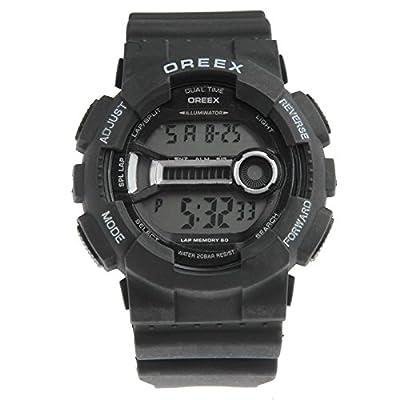Belles montres, OREEX résistant à l'eau sport LED montre avec montre main / semaine / temps / date / alarme / chronomètre / lumière LED