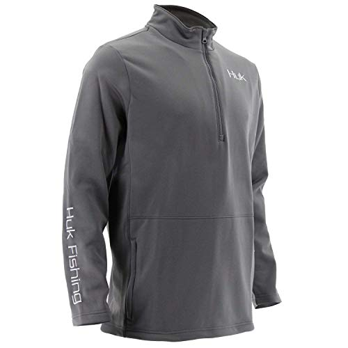 Fleece Long Sleeve Sport Shirt - Huk Men's Tidewater 1/4 Zip Fleece Long Sleeve Shirt, Iron, XXX-Large