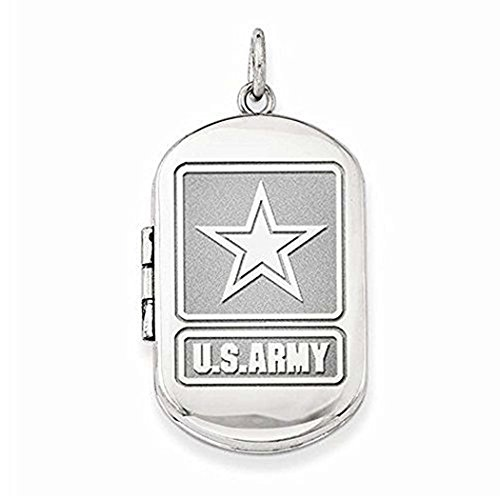 PicturesOnGold.com Sterling Silver Army Dogtag Locket - 1 Inch X 1 1/4 Inch Sterling Silver WITH ENGRAVING - Dog Tag Locket