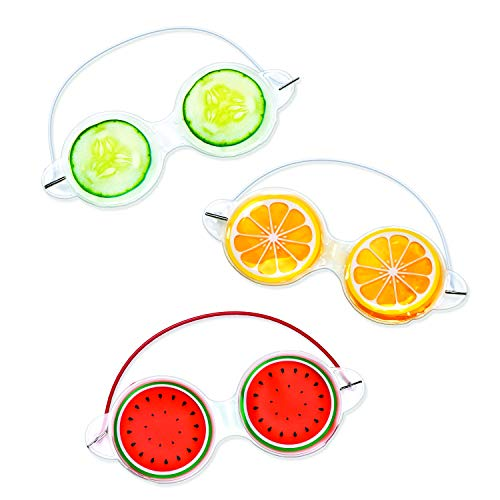 (Gel Eye Mask for Puffy Eyes: Treat Tired and Puffy Eyes, Cooling and Warming Mask, Cute Design in Cucumber, Watermelon and Orange, Set of 3)
