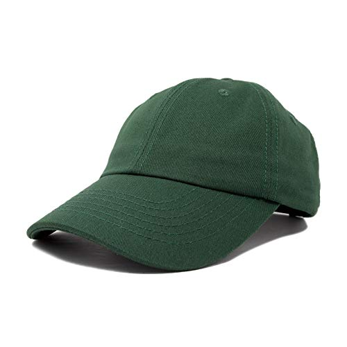 Dalix Unisex Unstructured Cotton Cap Adjustable Plain Hat, Dark Green