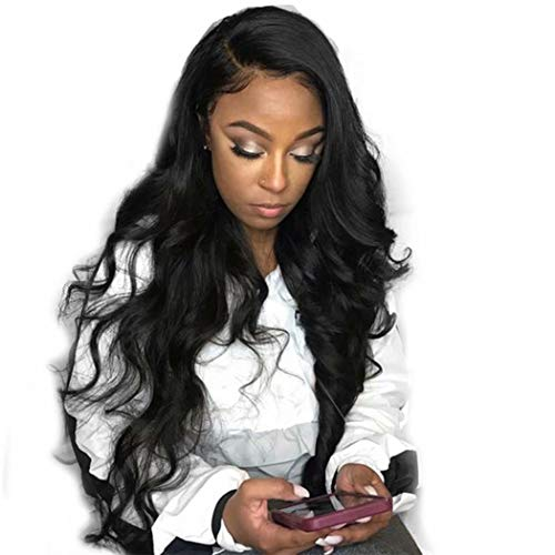 Dolago 360 Lace Frontal Wig Body Wave for Black Women, Glueless 180% Density 360 Lace Front Wig Brazilian Virgin 100% Human Hair Wigs Pre Plucked with Baby Hair Natural Color(Body Wave, 14inch)