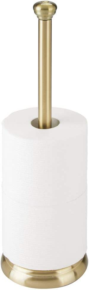 mDesign Decorative Metal Free-Standing Toilet Paper Holder Stand with Storage for 3 Rolls of Toilet Tissue - for Bathroom/Powder Room - Holds Mega Rolls - Soft Brass