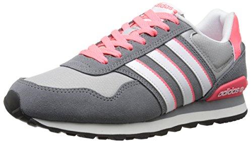 adidas NEO Women's 10K W Lifestyle Sneaker, Grey/White/Red, 7.5 M US