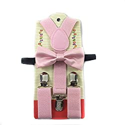 Toddler Kids Boys Girls Child Suspender Bow Tie (Wedding Pink)