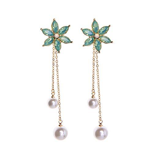 Feximzl Women Simulated Pearl Drop Earrings Long Flower Earrings Chain Pearl Dangle Earring Girls (Green)