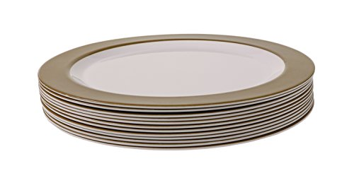 Rim Classic (Handi-Ware 12-Piece Party Bulk Pack Melamine Set - Classic Wide Rim Design - Break-Resistant - Indoor/Outdoor Reusable Dinnerware - by Unity (10.5