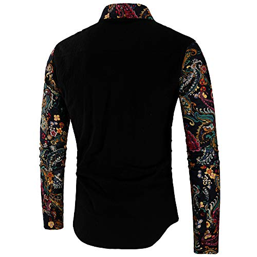 Casual Printed BHYDRY Slim Black a Long Fashion Tops Mens Shirts Blouse Sleeve qw1pa