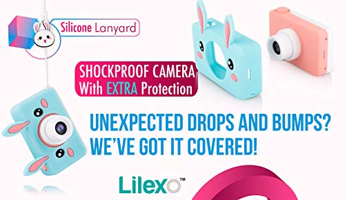 Lilexo Kids Camera - Children Digital Camcorder for Girls Gifts, with Anti Slip Grip and Shockproof Animal Protective Silicone Cover - 16GB Memory Card Included (Blue Rabbit) by Lilexo (Image #4)