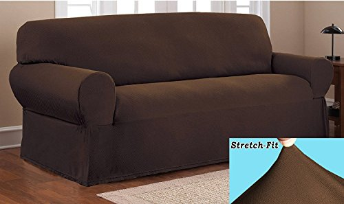 OrlysDream Stretch Form Fit Thick Polyester/Spandex Jersey Fabric Sofa Slipcover set, 2 Pc set includes Sofa And Love Seat Covers, Solid Color. (Coffee Brown)
