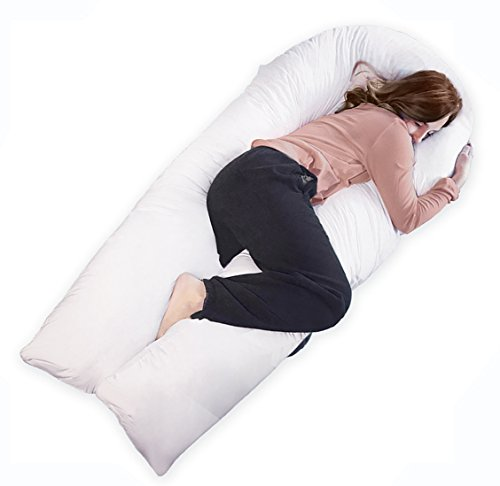 QUEEN ROSE 65 inch Pregnancy Body Pillow King size / Maternity Support Pillow for Back Pain with 100% Hypoallergenic Removable Pillow Cover (Nursing Pillow Foam)