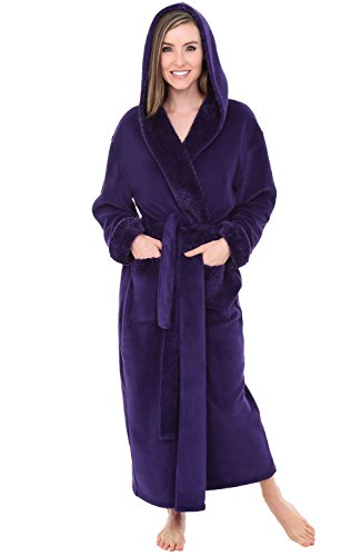 Alexander Del Rossa Womens Fleece Robe, Long Hooded Bathrobe, 1X 2X Purple with Jacquard (A0263PRJ2X)]()
